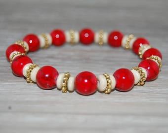 Red Coral Stone Bracelet,Wood Spacer Beads,Pretty Bracelet,Elastic,Easy Fits,Man,Woman,Gift,Good Luck,Pray,Yoga,Spirituality,Meditation