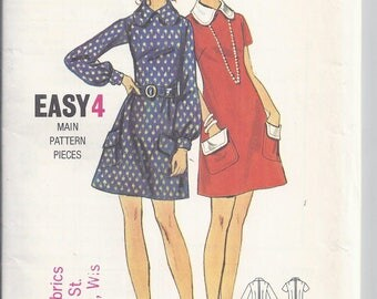 1970's Butterick Sewing Pattern # 5913.  Dart-fitted A-line Mini Dress Bust 34