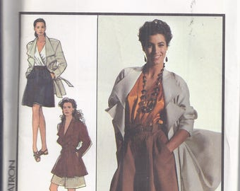 Style Sewing Pattern # 1564 from 1988  Misses Jacket and Culottes.  Falred jacket, pleated culottes..  Bust 34   UNCUT