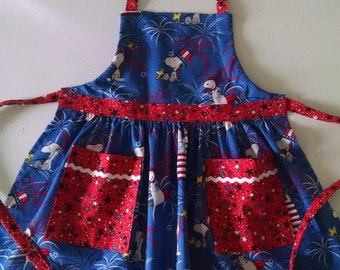 Girls Apron with Ruffles and Pockets Girls Patriotic Apron Snoopy Apron