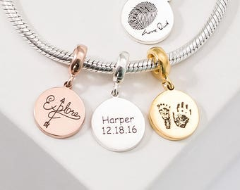 Fingerprint Charm • Customized European Tags • Silver Personalized Name Bead • Handwriting Charm • Fingerprint Jewelry • New Mom Gift • CM17