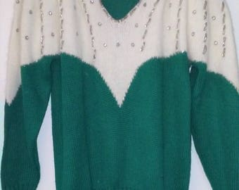 Vintage Sweater Vanna White Original Beaded Green Angora Pearls Sequins Large