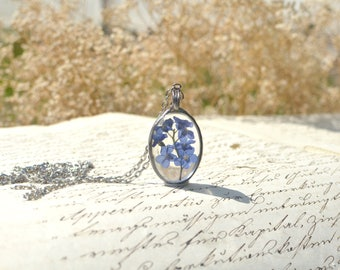 Small FORGET ME NOT terrarium pendant, made to order, oval necklace, periwinkle blue, pressed flower, myosotis, scorpion grass, very meadow