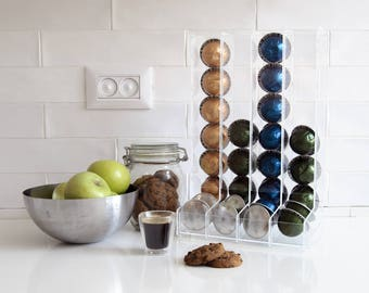 Nespresso Vertuoline Clear Coffee Pod Holder, Large Pod Holder, Kitchen Organizer, Minimal Decor Gift, Counter Top Storage, Coffee Display