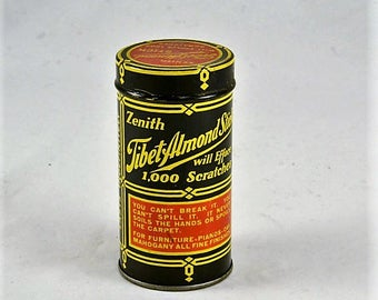 Old Tin - Vintage Mid Century Zenith Tibet Almond Stick - ADVERTISING TIN