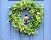 Spring Farmhouse Outdoor Wreath , Front Door Wreath , Large  English Garden Wreath , Spring Greenery Wreath , Summer Boxwood Wreath , Gift