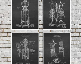 Sewing Room Decor Dress Form Decor Art Prints set of 4 Invention Diagrams with Chalkboard background sewing gift ideas
