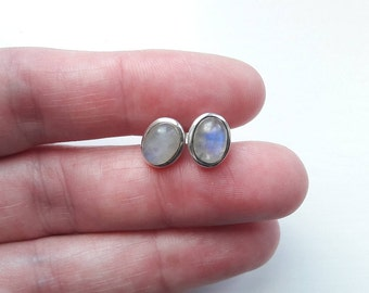 Sterling Silver Labradorite Stud Earrings, Handmade