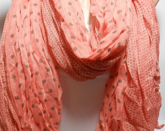 Polka Dot Scarf Peach Scarf Shawl Crinkle Cotton Scarf Spring Fall Autumn Winter Scarf Fashion Accessories Christmas Gifts For Her