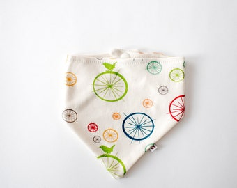 Pure Organic Cotton Bibdana - Birds and Wheels / Certified Organic / Drool Bib / Baby Bib