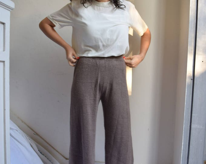 Thick Wool Knit Walnut Brown High Waist Pants