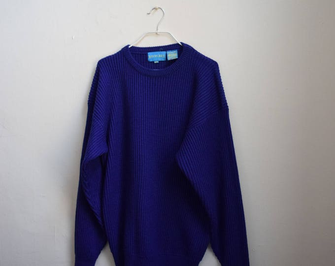 Cobalt Blue Chunky Pull Over Wool Sweater