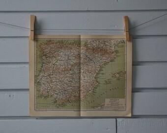 1890 Vintage Spain & Portugal Map