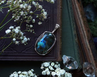 RESERVED* Blue Green Wire Wrapped Oval Labradorite Pendant