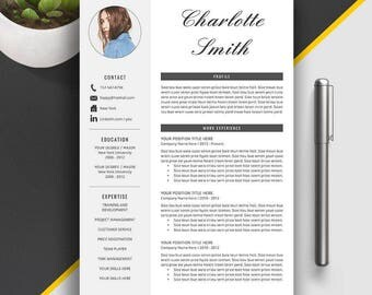 Modern Resume Template Word | CV Template | Professional CV | Creative Resume | 1, 2, 3 Page Resume Template | Instant Download | Charlotte