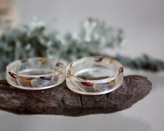 Real dandelion ring. ring with dandelion. Ring infinity dandelion ECO resin. Seeds of dandelion ring. Terrarium ring epoxy resin.