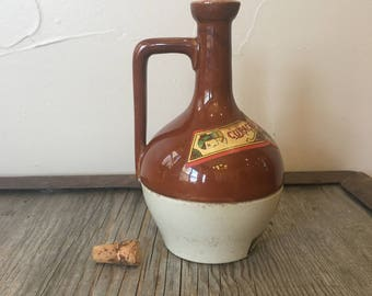 Vintage Mini Stoneware Earthenware Spirits, Liquor Jug CURACAO CHYPRE BARDINET Two Tone #7, 4 oz Orange Liqueur Jug with lables