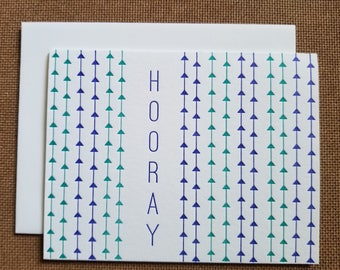 Letterpressed Hooray Cards - 5 pack