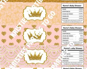 20 Princess Bottle Water Labels