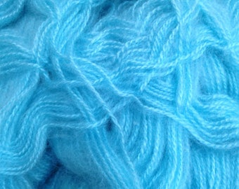XL Skein Bright Turquoise Blue Yarn Feels Like Kid Mohair for Fiber Art Projects, Crocheting Knitting Handmade Christmas Gifts & Accessories