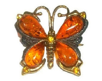 Butterfly brooch Pin Butterfly jewelry Insect brooch Insect jewelry Amber brooch gift girl girlfriend for woman orange Swarovski crystals