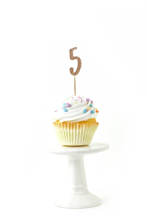 Number 5 Rose Gold Glitter Cupcake Toppers, Number 5 Toothpicks, Rose Gold Party Decor, Food Decoration, Fifth Birthday, 5th Birthday, Five