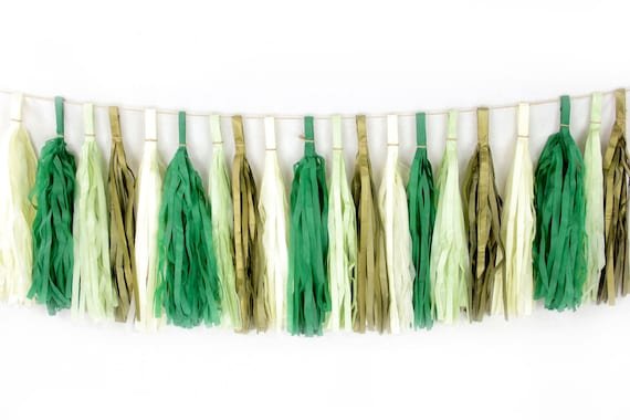 Forest Fancy Tassels, Tissue Tassels, Tassel Banner, Birthday Party Decor, DIY Tassels, Baby Shower, Birthday Wedding, Rustic Woodland Green