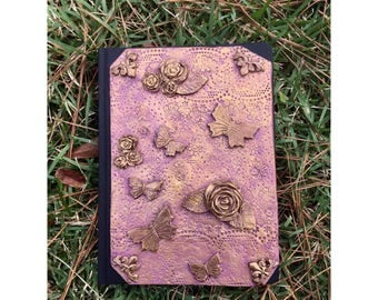 floral Journal, vintage style Journal, Journal, notebook, Polymer clay journal, clay journal, butterfly journal, clay diary, polymer clay