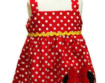 Girl dress girl Minnie birthday outfit, toddler dress baby dress girl Minnie dress  girl red and white dress girl outfit girl dress