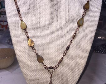 Yellow Shell and Glass Beaded Necklace