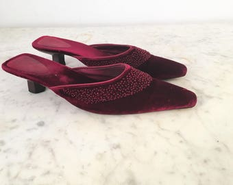 Magenta Velvet Sabot / 90's Velvet sabot / Beaded Velvet Slippers  /Party shoes velvet /Slippers velvet shoes  size USA 7 / EU 38 / UK 5