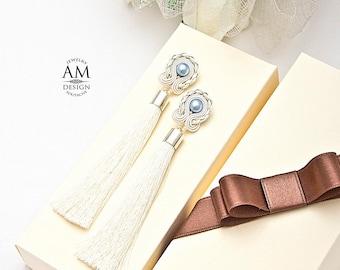 White Tassel Earrings Wedding Earrings Dangle Earrings Pearl Earrings Bridesmaid Earrings Cream Earrings Soutache Earrings Long Earrings