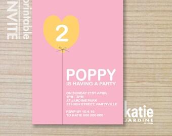 girls invitation - kids invitation  - printable invitation - love heart balloon - pink - purple