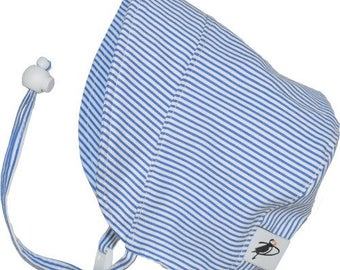 Infant's Sun Protection Bonnet - Cotton Print in Blue Natty Stripe (newborn, 3 month, 6 month, xxs)