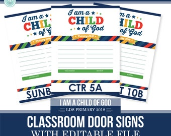 2018 LDS Primary Classroom Door Lists - I am a child of god - Moon Theme - MB