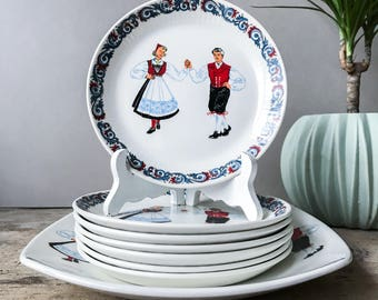 Vintage Figgjo Flint Hardanger Dancers, Plates Set , Cake Plates Set, Figgjo Flint Norway, 50's Scandinavian Kitchenware, NEVER USED! RARE