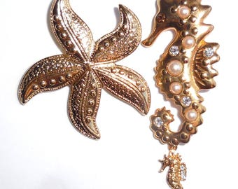 Gorgeous SEAHORSE & STARFISH Vintage BROOCHES...Sea Life Figural Brooch...Marine Nautical Beach Jewellery...Lovely Gift!