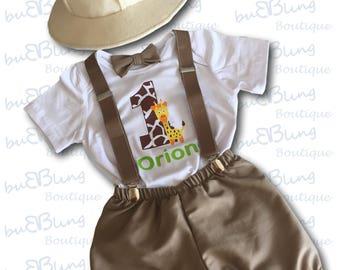 1st Birthday Outfit, Jungle Safari Explorer Baby Boy Outfit, First Birthday Outfit, Cake Smash Outfit, Personalised Safari, Baby Photoshoot