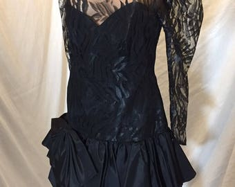 Vintage Black Lace Cocktail Dress TD4 By Eletra Flirty Long Sleeves Party USA