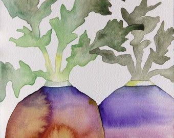 Original art, watercolor painting, kitchen art, kitchen decor, gardener gift, whimsical art, food art, one of a kind art, gift for gardener