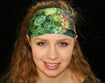 Hippie Headband - Green Headband - Kaleidoscope Headband - Geometric Headband - Sport Headband - Yoga Headband - Workout Headband