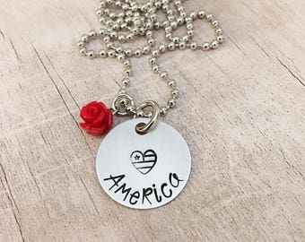 Patriotic Necklace Hand Stamped - American Flag - Patriotic Necklace - 4th of July Jewelry