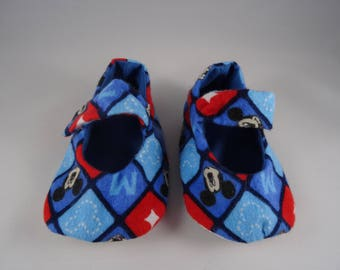 Baby Slipper - Mickey Mouse Print w/ Grip
