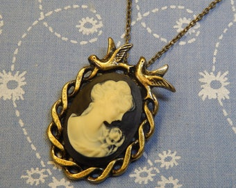 Cameo with A Rose and Two Birds Antique Brass Plate Setting Necklace