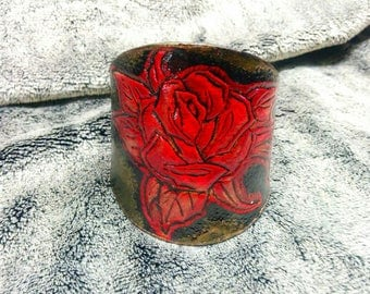 Leather Bracelet, ROSE motif, engraved and painted by hand