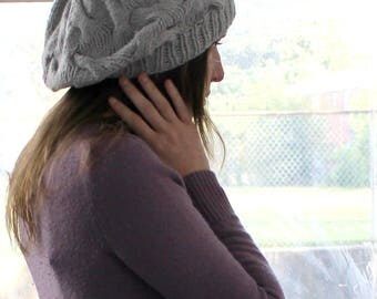 Slouchy Cable Hand Knit Hat