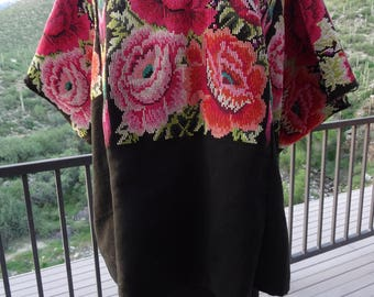 GUATEMALAN HUIPIL w/ROSES from Chichicastenango, Guatemala/ Vintage Woven Blouse from Santo Tomas, Chichicastenango/ Ceremonial Gypsy Blouse