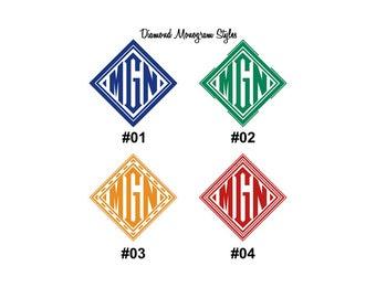 Custom Diamond Three Letter Monogram with Border