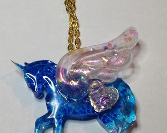 Sparkling blue and pink pearlized Pegasus glitter pendant necklace