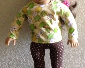 """Leggings and t-shirt made to fit 18"""" dolls such as American Girl"""